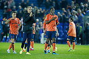 Jonas Lössl of Everton and Yerry Mina of Everton applaud the fans at full time during the EFL Cup match between Sheffield Wednesday and Everton at Hillsborough, Sheffield, England on 24 September 2019.