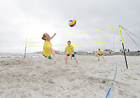 2/7/2012. Benny O Regan playing beach Volleyball on Grattan Beach on Brazil day on the prom in Salthill GAlway before the arrival of The Volvo Ocean race competitors . picture :Andrew Downes.