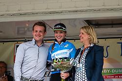 Podium with Lucy Garner of Team Liv-Plantur after the finish at the Holland Ladies Tour, 's-Heerenberg, Gelderland, The Netherlands, 1 September 2015.<br /> Photo: Pim Nijland / PelotonPhotos.com