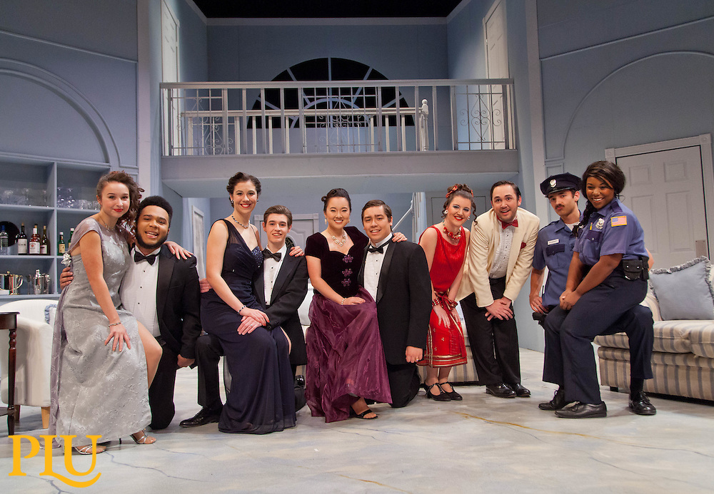 """Mystery-comedy """"Rumors"""" on the stage at PLU on Thursday, Oct. 22, 2015. (Photo/John Froschauer)"""