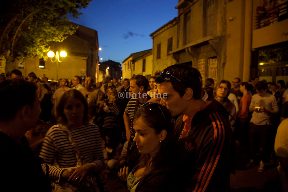 people waiting for the Bastille day fireworks Carcasonne