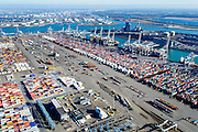 Nederland, Zuid-Holland, Rotterdam, 18-02-2015; Eerste Maasvlakte, Coloradoweg en Amazonehaven. ECT Delta Terminal, Europe Container Terminals. Links APM Terminals. <br /> Europees Massagoed Overslagbedrijf (EMO) en raffinaderij BP in de achtergrond<br /> luchtfoto (toeslag op standard tarieven);<br /> aerial photo (additional fee required);<br /> copyright foto/photo Siebe Swart