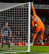 Jak Alnwick of Newcastle United is beaten but the ball hits the cross bar during the Barclays Premier League match at the Emirates Stadium, London<br /> Picture by David Horn/Focus Images Ltd +44 7545 970036<br /> 13/12/2014