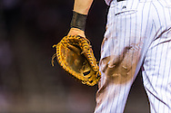 A close up view of the glove of Justin Morneau (33) of the Minnesota Twins on August 10, 2012 at Target Field in Minneapolis, Minnesota.  The Rays defeated the Twins 12 to 6.  Photo: Ben Krause