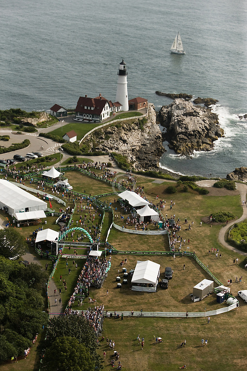 Beach To Beacon 10K road race aerial view,