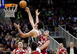 Vladimir Golubovic of Olimpija vs Filip Videnov at basketball match of NLB League between KK Union Olimpija and KK Crvena zvezda,  on October 24, 2009, Arena Tivoli, Ljubljana, Slovenia.  Union Olimpija won 94:76.  (Photo by Vid Ponikvar / Sportida)