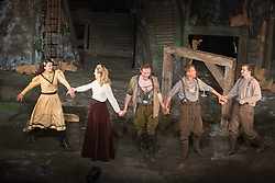 © Licensed to London News Pictures. 29/06/2015.  London, UK. Curtain call with Selma Brook (Lisette), Emily Bowker (Isabelle Azaire), Edmund Wiseman (Stephen Wraysford), Peter Duncan (Jack Firebrace) and Max Bowden (Tipper). Author Sebastian Faulks joins the Birdsong cast as he takes a role in the play at Richmond Theatre. Birdsong, adapted from the Sebastian Faulks novel by Rachel Wagstaff, is performed at Richmond Theatre until 4 July 2015 which finishes the UK tour. Photo credit: Bettina Strenske/LNP