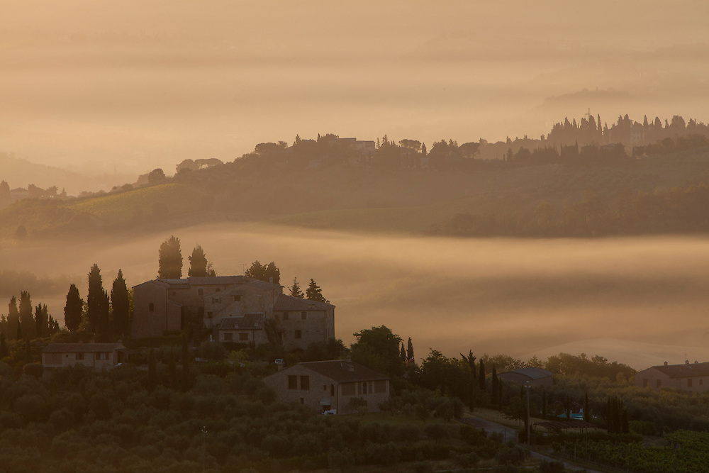 Europe, Italy, Tuscany, San Gimignano, farmhouses on ridges with fog at dawn