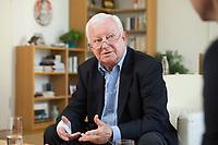 17 JUN 2015, BERLIN/GERMANY:<br /> Rudolf Seiters, Praesident Deutsches Rotes Kreuz, DRK, Bundesinnenminister a.D., waehrend einem Interview, in seinem Buero, DRK Generalsekretariat<br /> IMAGE: 20150617-02-015