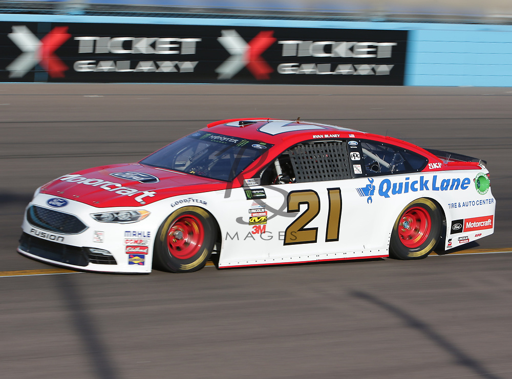 Ryan Blaney qualifies second for Sunday's NASCAR Cup Series auto race on Friday, March 17, 2017, in Avondale, Ariz.  (AP Photo/Rick Scuteri)