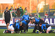 England team work on their scrum before the game during the Women's 6 Nations match between Ireland Women and England Women at Energia Park, Dublin, Ireland on 1 February 2019.
