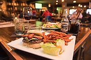 Oxpub Burger with wagyu beef and sweet potato fries