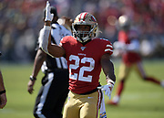 San Francisco 49ers running back Matt Breida (22) gestures during an NFL football game against the Los Angeles Rams, Sunday, Oct. 13, 2019, in Los Angeles. The 49ers defeated the Rams 20-7. (Dylan Stewart/Image of Sport)