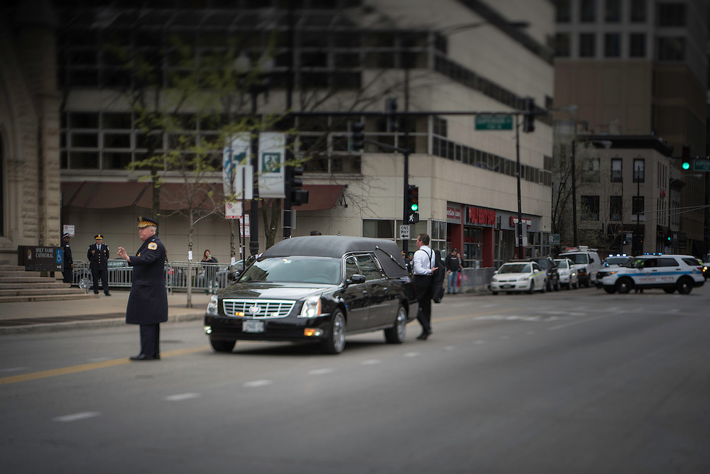Photo by Michael R. Schmidt-Chicago, IL-April 21, 2015<br />Cardinal Francis George, eighth Archbishop of Chicago arrives at Holy Name Cathedral.