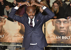 November 28, 2016 - London, England, United Kingdom - MO FARAH attend's the 'I Am Bolt' world film premiere at the Odeon Leicester Square. (Credit Image: © Ray Tang/London News Pictures via ZUMA Wire)