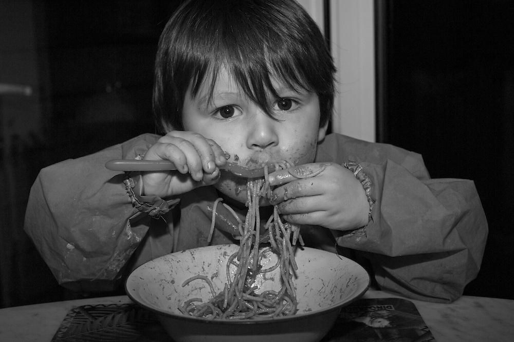 Joe enjoys a bowl of spaghetti at  home Berkhamsted  Tuesday, Feb. 16, 2016 (Elizabeth Dalziel) #thesecretlifeofmothers #bringinguptheboys #dailylife