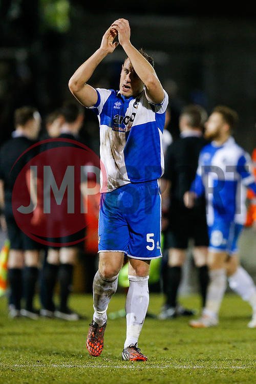 Mark McCrystal celebrates after Bristol Rovers win the match to go 2 points clear at the top of the league - Photo mandatory by-line: Rogan Thomson/JMP - 07966 386802 - 24/02/2015 - SPORT - FOOTBALL - Bristol, England - Memorial Stadium - Bristol Rovers v Braintree Town - Vanarama Conference Premier.
