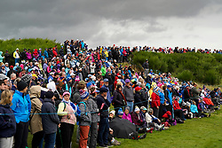 Auchterarder, Scotland, UK. 14 September 2019. Saturday morning Foresomes matches  at 2019 Solheim Cup on Centenary Course at Gleneagles. Pictured; Large group of spectators viewing from beside the 9th fairway. Iain Masterton/Alamy Live News
