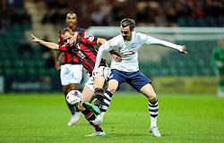 Will Keane of Preston North End and Shaun MacDonald of Bournemouth - Mandatory byline: Matt McNulty/JMP - 07966386802 - 22/09/2015 - FOOTBALL - Deepdale Stadium -Preston,England - Preston North End v Bournemouth - Capital One Cup - Third Round