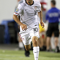 USA midfielder Landon Donovan (10) runs during a  CONCACAF Gold Cup soccer match between the United States and Panama on Saturday, June 11, 2011, at Raymond James Stadium in Tampa, Fla. (AP Photo/Alex Menendez)