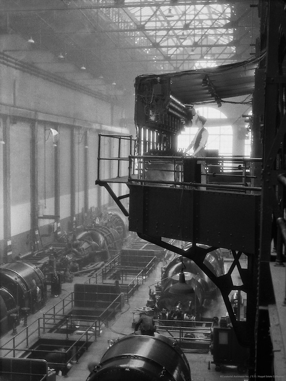 Worker in Engine Room, Lots Road Power Station, England, 1931