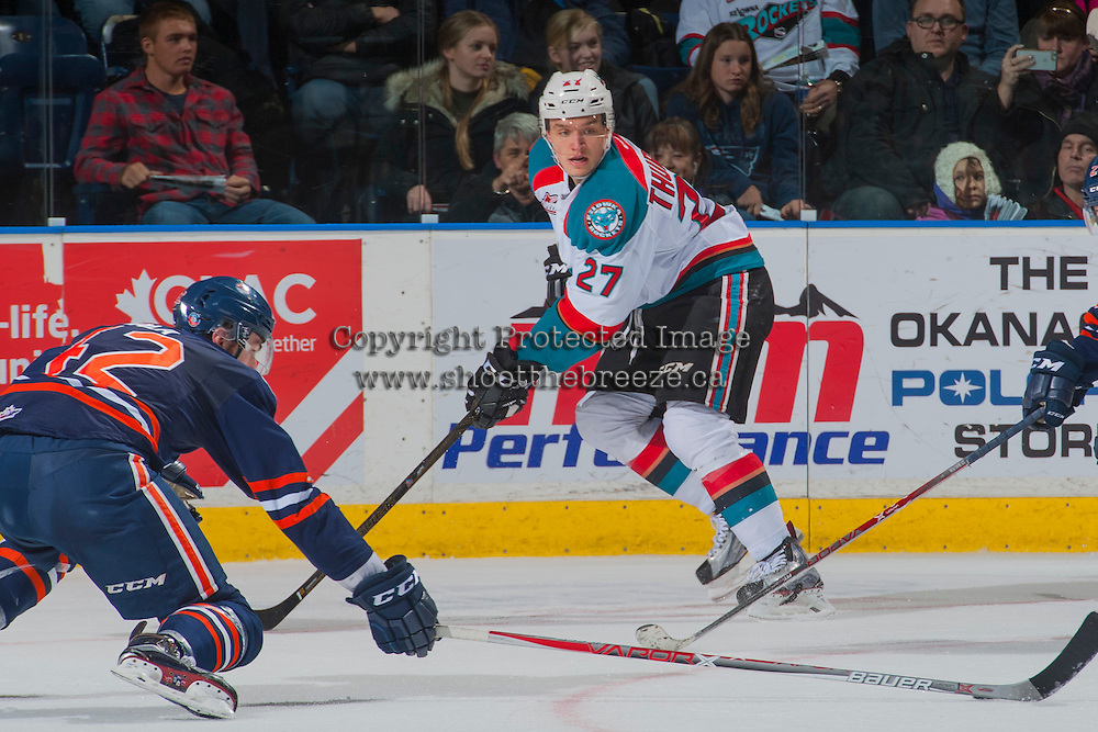 KELOWNA, CANADA - JANUARY 7: Calvin Thurkauf #27 of the Kelowna Rockets looks for the pass against the Kamloops Blazers on January 7, 2017 at Prospera Place in Kelowna, British Columbia, Canada.  (Photo by Marissa Baecker/Shoot the Breeze)  *** Local Caption ***