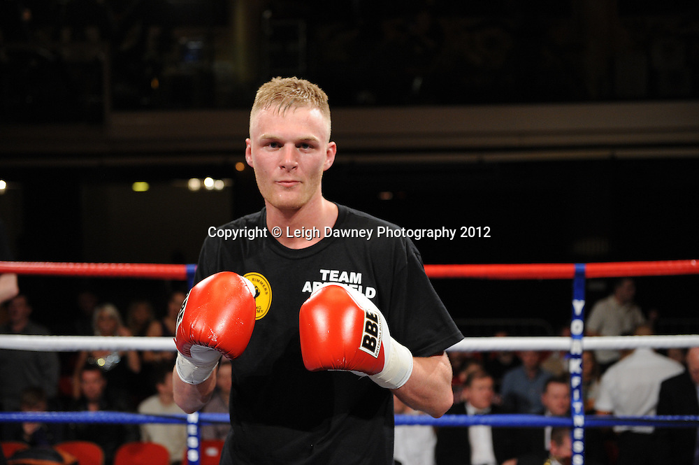 Jack Arnfield defeats Kevin McCauley in a Light Middleweight  contest at The Winter Gardens, Blackpool on the 31st March 2012. Frank Maloney and Steve Wood VIP Promotions. © Leigh Dawney Photography 2012.