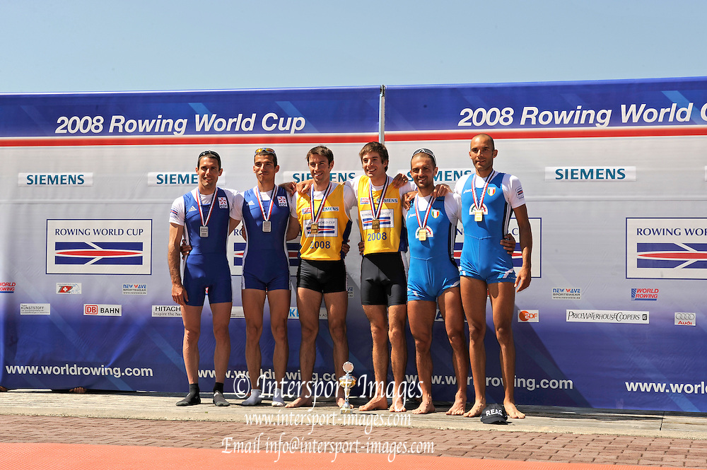 Munich, GERMANY, [left] FRA LM2X Silver Medallist, [centre] GBR LM2X, Bow Zac PURCHASE and Mark HUNTER and [right [ITA LM2x], awards dock after winning the men's Lightweight Double Scull, at the FISA World Cup Munich, held on the Olympic Rowing Course, 11/05/2008  [Mandatory Credit Peter Spurrier/ Intersport Images] Rowing Course, Olympic Regatta Rowing Course, Munich, GERMANY