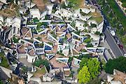 Ivry-sur-Seine, département du Val-de-Marne (94), centre-ville, exterior multi level access path from street level to apartment roof terraces.