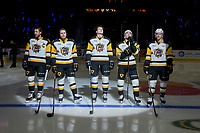 REGINA, SK - MAY 18: The Hamilton Bulldogs' starting line up of game 1 of the Memorial Cup against the Regina Pats at the Brandt Centre on May 18, 2018 in Regina, Canada. (Photo by Marissa Baecker/Shoot the Breeze)