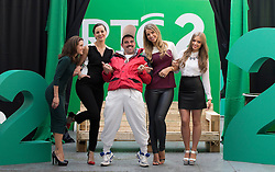 Repro Free: 11/09/2014<br /> Andy Quirke a.k.a. Damo from Damo and Ivor is pictured with Maia Dunphy, Hilary Rose, Vogue Williams and Diana Bunici at the RT&Eacute; Two New Season Launch in Gateway House, Capel Street. Picture Andres Poveda