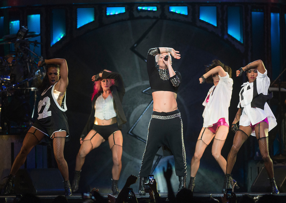 Pink performs with some of her dancers and band Saturday during her set at Staples Center October 12, 2013.