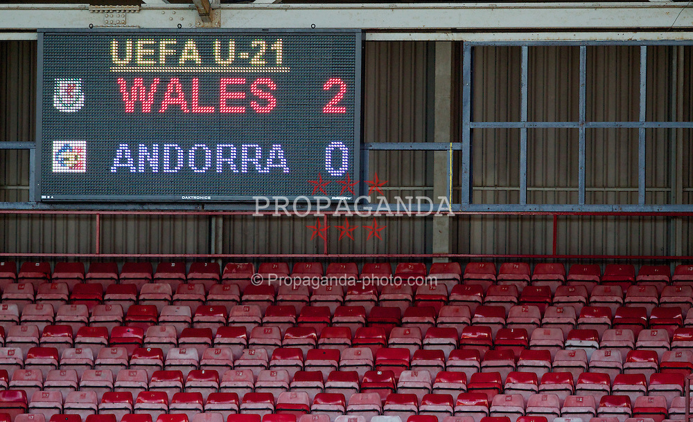 WREXHAM, WALES - Wednesday, February 29, 2012: The scoreboard shows Wales' early 2-0 lead over Andorra during the UEFA Under-21 Championship Qualifying Group 3 match at the Racecourse Ground, which ended 4-0 to the hosts. (Pic by Vegard Grott/Propaganda)