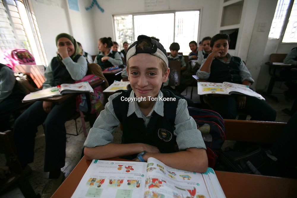A young boy at a school in Amman, jordan