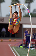 Mar 18, 2017; Los Angeles, CA, USA: Michael Gonzalez of Southern California clears 15-9 (4.80m) in the pole vault during the Trojan Invitational at Cromwell Field.