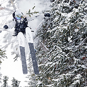 Hadley Hammer busting through some trees and dislocating her shoulder in the process.