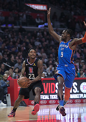 March 8, 2019 - Los Angeles, California, U.S - Lou Williams #23 of the Los Angeles Clippers drives to the basket over Jerami Grant #9 of the Oklahoma Thunder during their NBA game on Friday March 8, 2019 at the Staples Center in Los Angeles, California. JAVIER ROJAS/PI (Credit Image: © Prensa Internacional via ZUMA Wire)