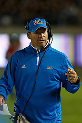 BERKELEY, CA - OCTOBER 06: Head coach Jim Mora of the UCLA Bruins on the sidelines against the California Golden Bears during the fourth quarter at California Memorial Stadium on October 6, 2012 in Berkeley, California. The California Golden Bears defeated the UCLA Bruins 43-17. (Photo by Jason O. Watson/Getty Images) *** Local Caption *** Jim Mora