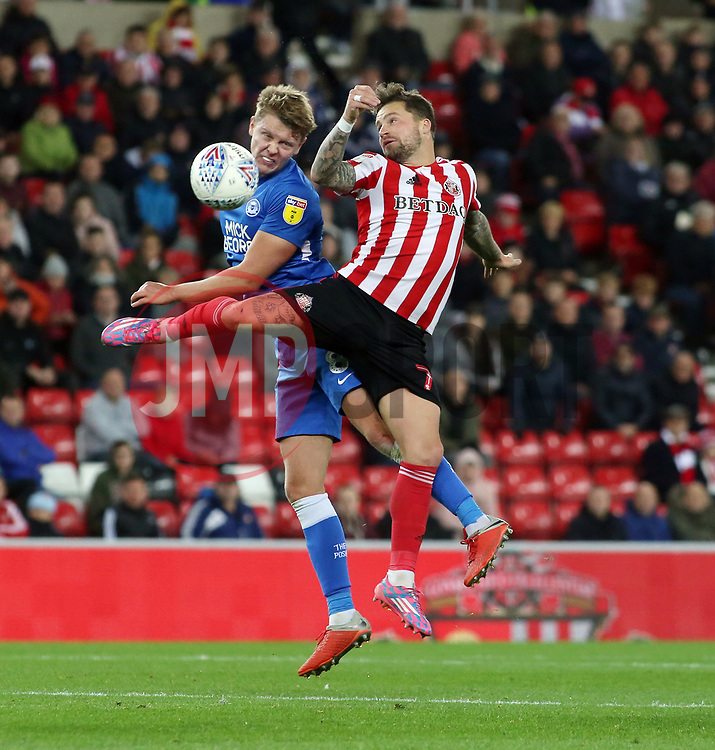 Mark O'Hara of Peterborough United challenges for the ball with Chris Maguire of Sunderland - Mandatory by-line: Joe Dent/JMP - 02/10/2018 - FOOTBALL - Stadium of Light - Sunderland, England - Sunderland v Peterborough United - Sky Bet League One