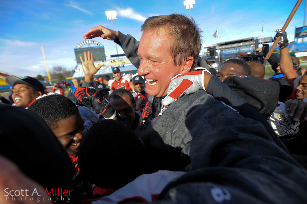 Las Vegas Locomotives coach Jim Fassel celebrates his team's 23-20 United Football League championship game win over the Florida Tuskers at Rosenblatt Stadium on Nov. 27, 2010 in Omaha, Nebraska. It was the Locos second title in the two-year-old league..©2010 Scott A. Miller