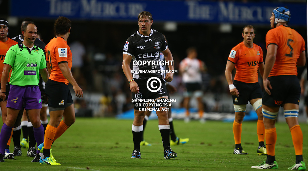 DURBAN, SOUTH AFRICA - MARCH 05:  Etienne Oosthuizen of the Cell C Sharks during the 2016 Super Rugby match between Cell C Sharks and Jaguares at Growthpoint Kings Park Stadium on March 05, 2016 in Durban, South Africa. (Photo by Steve Haag/Gallo Images)