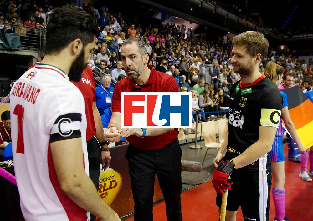 BERLIN - Indoor Hockey World Cup<br /> Semi-final 1: Germany - Iran<br /> foto: coin toss.<br /> WORLDSPORTPICS COPYRIGHT FRANK UIJLENBROEK