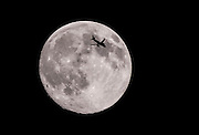 ZAOZHUANG, CHINA - SEPTEMBER 27: (CHINA OUT) <br /> <br /> <br /> A Plane with the full moon during the Mid-Autumn Festival on September 27, 2015 in Huaian, Jiangsu Province of China. The Mid-Autumn Day falls on Sep 27 this year.<br /> ©Exclusivepix Media