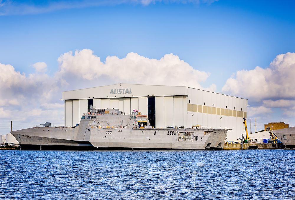 The USS Omaha (LCS 12), the nation's 12th littoral combat ship, is docked at Austal USA's ship manufacturing facility, on the Mobile River, November 27, 2015, in Mobile, Alabama. The Omaha is 419 feet long and is a variant of the Independence. The ship, which will be used by the United States Navy, has a maximum speed of more than 40 knots and is capable of operating near-shore or on open sea. Austal's USA facility opened on Mobile's Blakely Island in 1999. (Photo by Carmen K. Sisson/Cloudybright)
