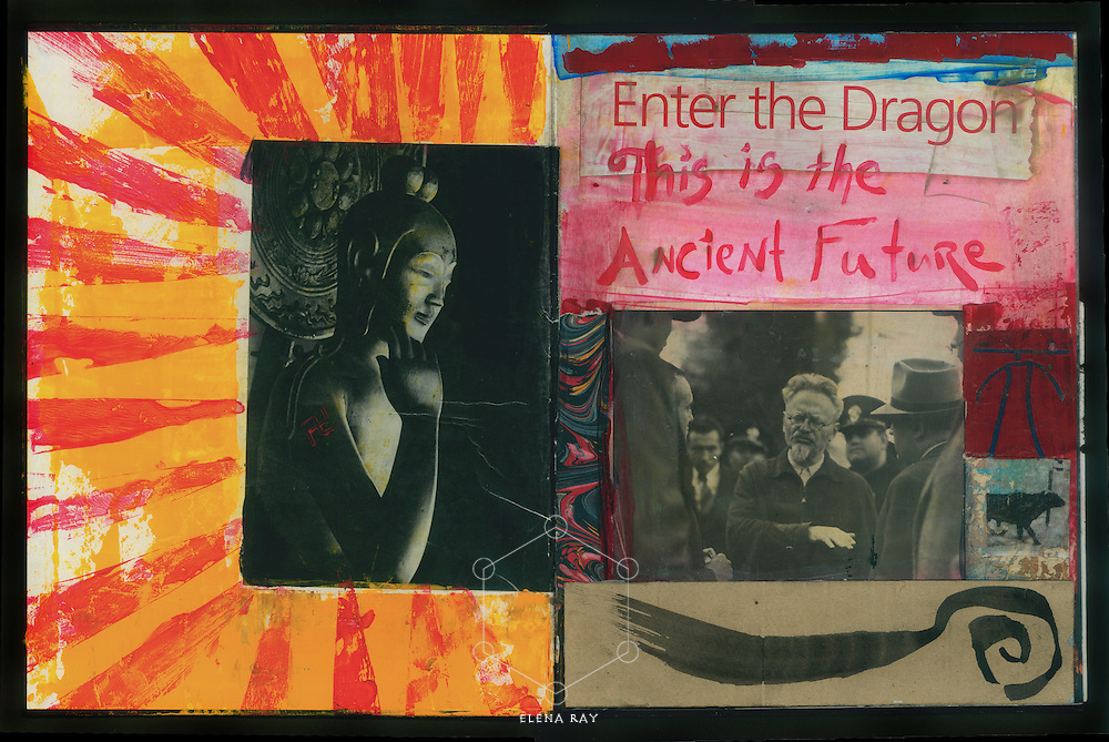 Artist journal with divine and political symbolism.