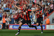 AFC Bournemouth's midfielder Matt Ritchie celebrates his goal during the Barclays Premier League match between Bournemouth and Sunderland at the Goldsands Stadium, Bournemouth, England on 19 September 2015. Photo by Mark Davies.