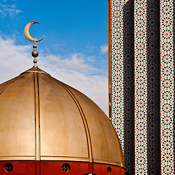 London, UK - 20 July 2012: The Dome of the East London Mosque while the Muslim community celebrates the first day of Ramadan.