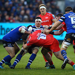 WillGriff John of Sale Sharks tackling Francois Louw of Bath Rugby during the Gallagher Premiership match between Bath Rugby and Sale Sharks at the The Recreation Ground Bath England.2nd December 2018,(Photo by Steve Haag Sports)