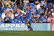 AFC Wimbledon striker Lyle Taylor (33) with head in hands during the EFL Sky Bet League 1 match between AFC Wimbledon and Bristol Rovers at the Cherry Red Records Stadium, Kingston, England on 8 April 2017. Photo by Matthew Redman.