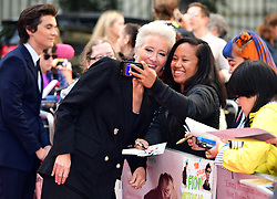 Emma Thompson poses for a selfie with a fan as she attends the Children Act Premiere, London.